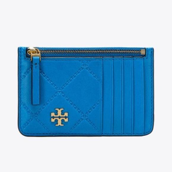 3dbe55078c5 Tory Burch Georgia Top Zip Card Case Galleria Blue